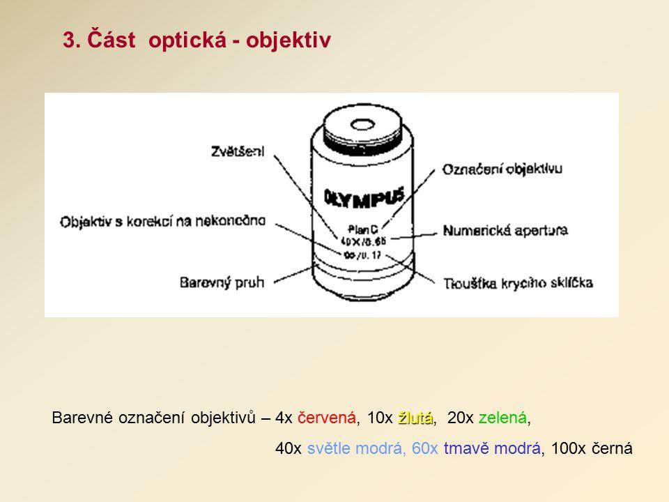 3. Část optická - objektiv žlutá Barevné označení objektivů – 4x červená, 10x žlutá, 20x zelená, 40x světle modrá, 60x tmavě modrá, 100x černá
