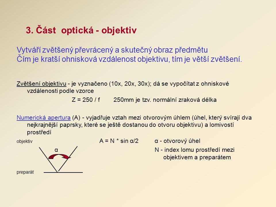 3. Část optická - objektiv Vytváří zvětšený převrácený a skutečný obraz předmětu Čím je kratší ohnisková vzdálenost objektivu, tím je větší zvětšení.