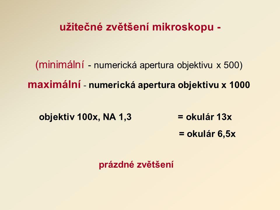 užitečné zvětšení mikroskopu - (minimální - numerická apertura objektivu x 500) maximální - numerická apertura objektivu x 1000 objektiv 100x, NA 1,3 = okulár 13x = okulár 6,5x prázdné zvětšení