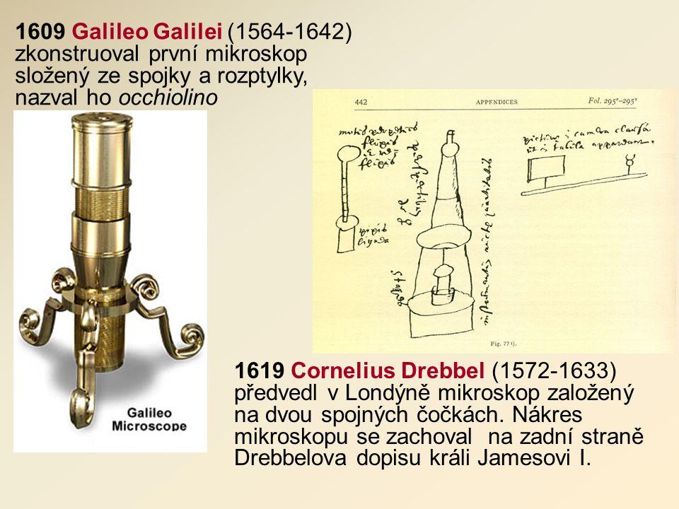 1609 Galileo Galilei (1564-1642) zkonstruoval první mikroskop složený ze spojky a rozptylky, nazval ho occhiolino 1619 Cornelius Drebbel (1572-1633) předvedl v Londýně mikroskop založený na dvou spojných čočkách.