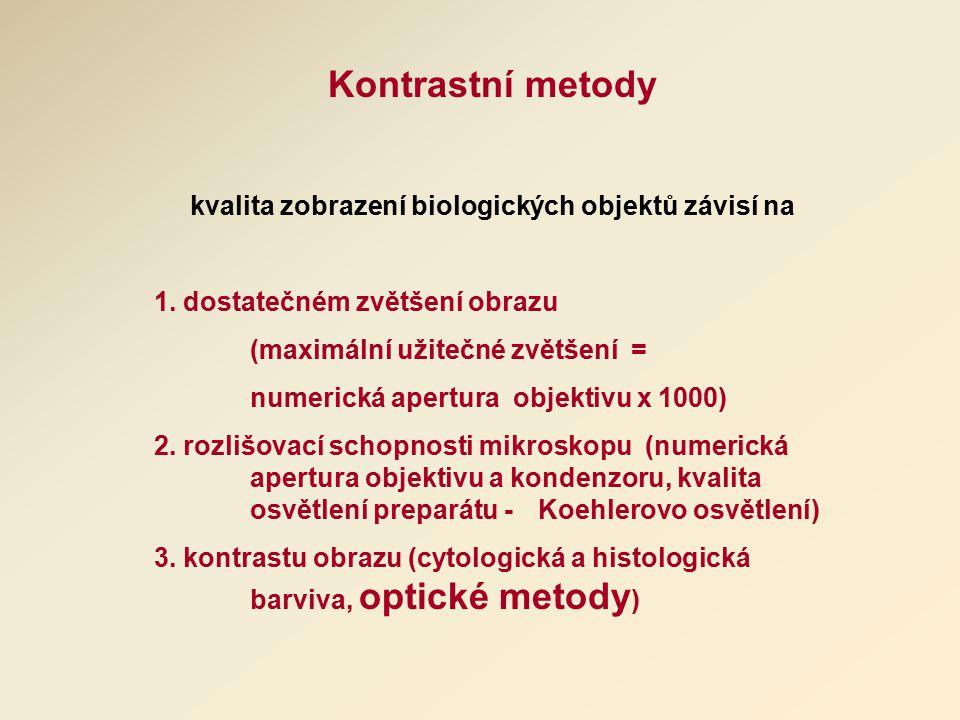 Kontrastní metody kvalita zobrazení biologických objektů závisí na 1.