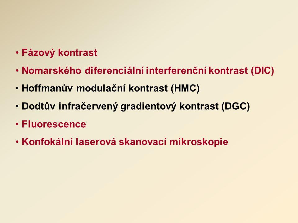 Fázový kontrast Nomarského diferenciální interferenční kontrast (DIC) Hoffmanův modulační kontrast (HMC) Dodtův infračervený gradientový kontrast (DGC) Fluorescence Konfokální laserová skanovací mikroskopie