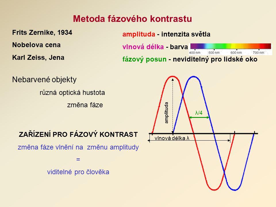 Metoda fázového kontrastu Frits Zernike, 1934 Nobelova cena Karl Zeiss, Jena vlnová délka λ amplituda λ/4 amplituda - intenzita světla vlnová délka - barva fázový posun - neviditelný pro lidské oko ZAŘÍZENÍ PRO FÁZOVÝ KONTRAST změna fáze vlnění na změnu amplitudy = viditelné pro člověka Nebarvené objekty různá optická hustota změna fáze