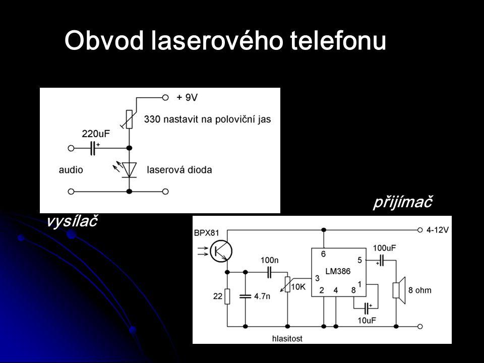 Specifikace diody - laserová dioda s optikou - λ = 650nm - výstupní výkopn je max.
