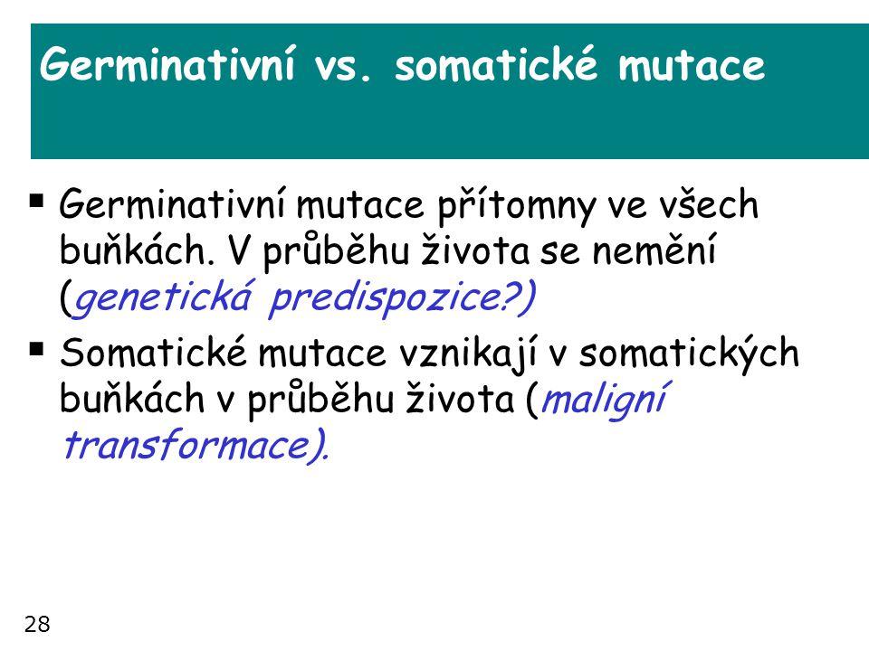28 Germinativní vs. somatické mutace  Germinativní mutace přítomny ve všech buňkách. V průběhu života se nemění (genetická predispozice?)  Somatické