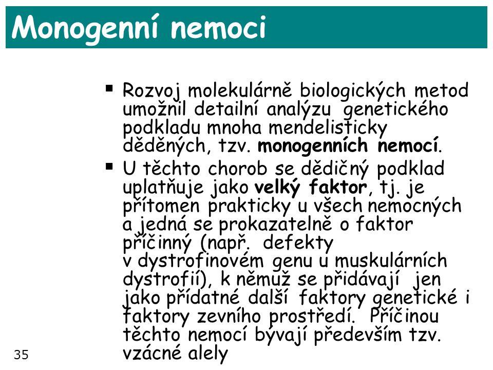 35 Monogenní nemoci  Rozvoj molekulárně biologických metod umožnil detailní analýzu genetického podkladu mnoha mendelisticky děděných, tzv. monogenní
