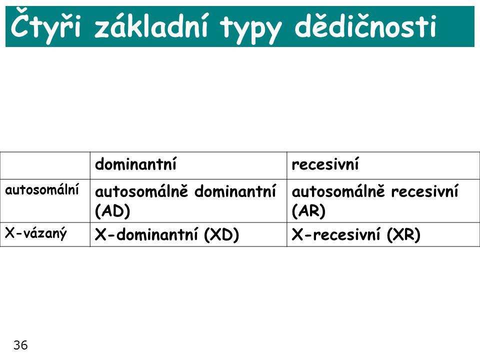 36 Čtyři základní typy dědičnosti dominantnírecesivní autosomální autosomálně dominantní (AD) autosomálně recesivní (AR) X-vázaný X-dominantní (XD)X-r