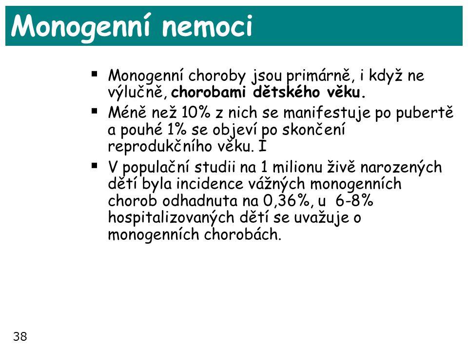 38 Monogenní nemoci  Monogenní choroby jsou primárně, i když ne výlučně, chorobami dětského věku.  Méně než 10% z nich se manifestuje po pubertě a p
