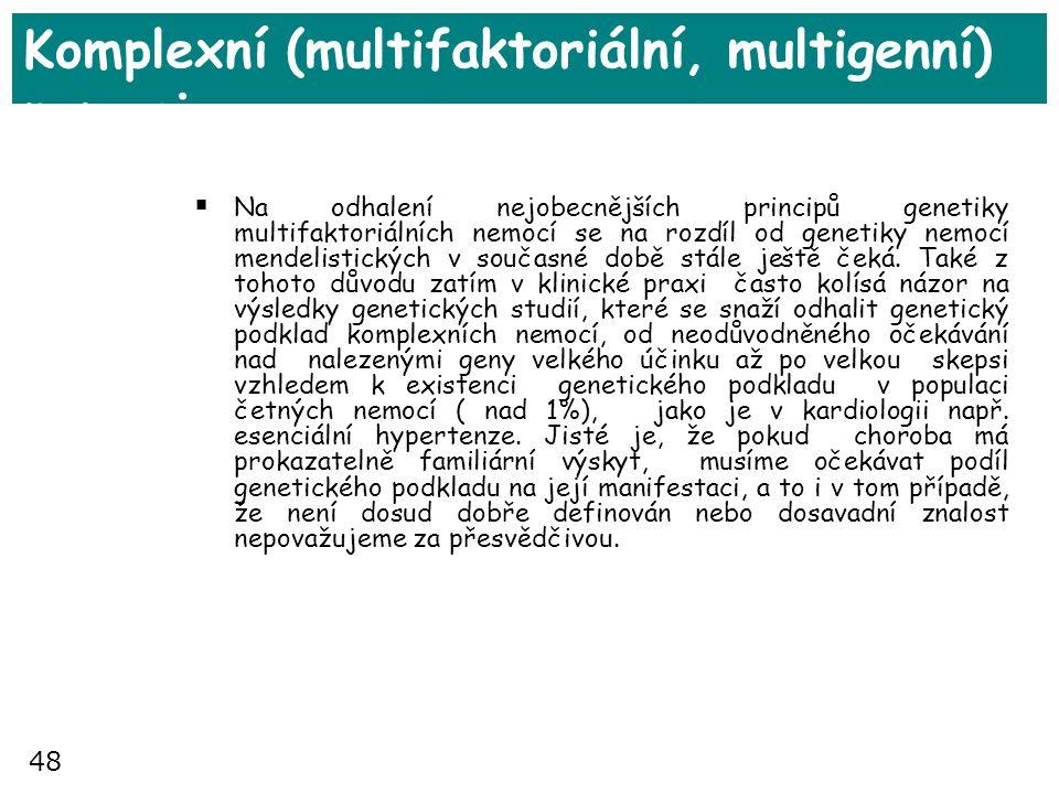 48 Komplexní (multifaktoriální, multigenní) nemoci  Na odhalení nejobecnějších principů genetiky multifaktoriálních nemocí se na rozdíl od genetiky n