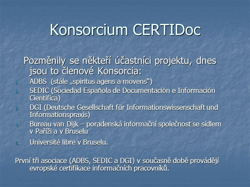 Konsorcium CERTIDoc Pozměnily se někteří účastníci projektu, dnes jsou to členové Konsorcia: Pozměnily se někteří účastníci projektu, dnes jsou to členové Konsorcia: 1.