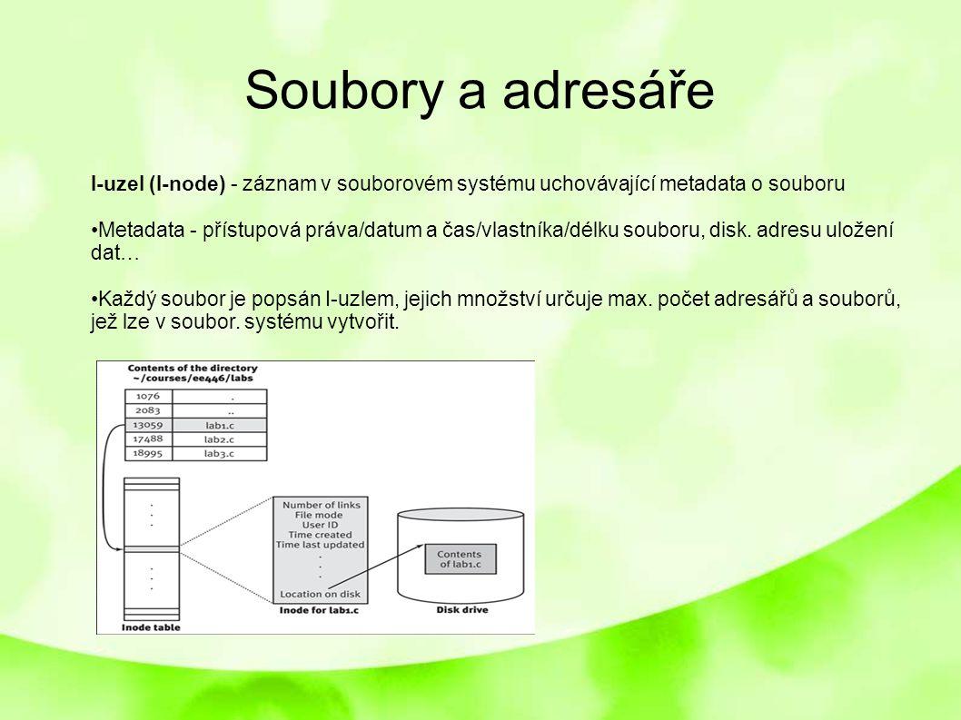 Soubory a adresáře I-uzel (I-node) - záznam v souborovém systému uchovávající metadata o souboru Metadata - přístupová práva/datum a čas/vlastníka/dél