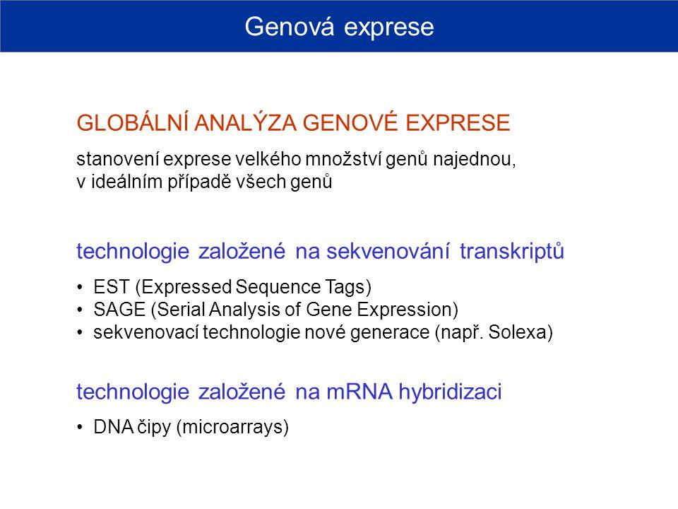 GLOBÁLNÍ ANALÝZA GENOVÉ EXPRESE stanovení exprese velkého množství genů najednou, v ideálním případě všech genů technologie založené na sekvenování tr