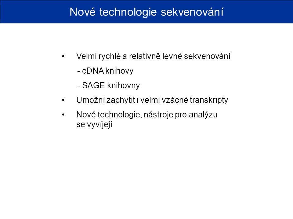 Nové technologie sekvenování Velmi rychlé a relativně levné sekvenování - cDNA knihovy - SAGE knihovny Umožní zachytit i velmi vzácné transkripty Nové