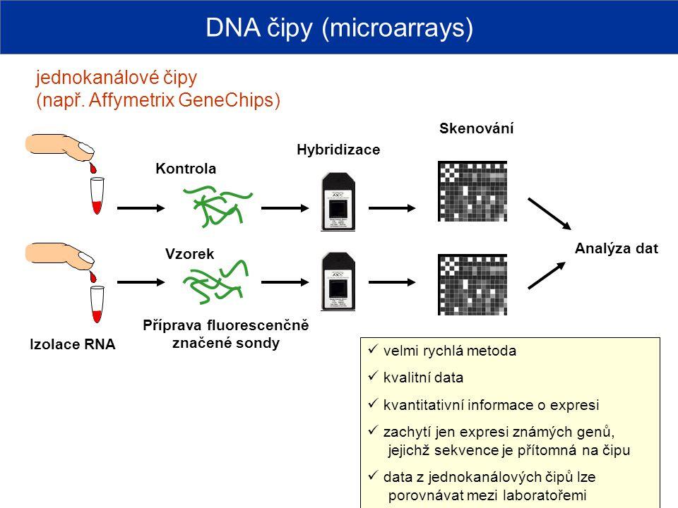 jednokanálové čipy (např. Affymetrix GeneChips) Příprava fluorescenčně značené sondy Kontrola Vzorek Izolace RNA Hybridizace DNA čipy (microarrays) Sk
