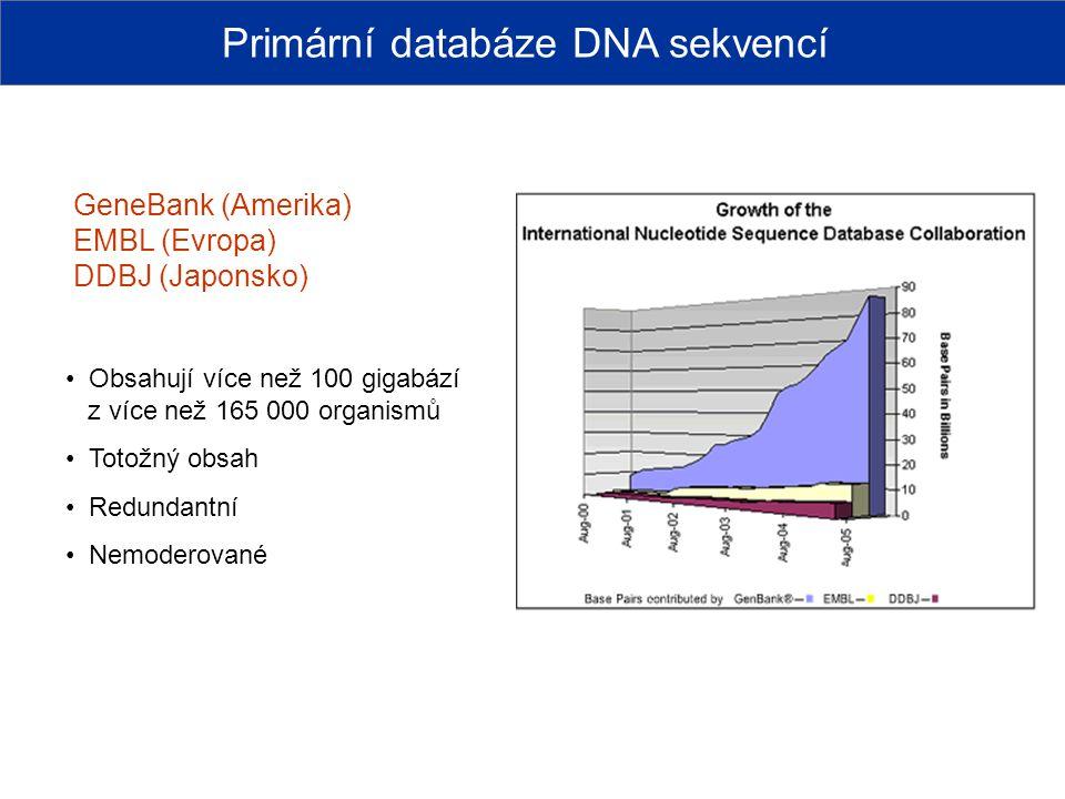 GeneBank (Amerika) EMBL (Evropa) DDBJ (Japonsko) Obsahují více než 100 gigabází z více než 165 000 organismů Totožný obsah Redundantní Nemoderované Pr