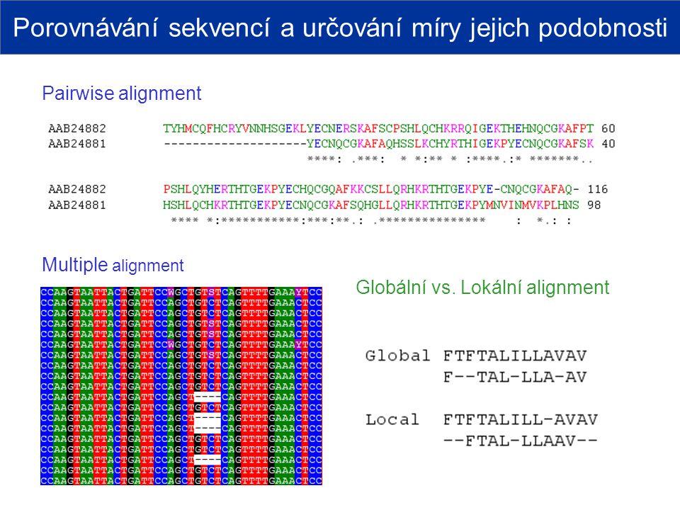 Porovnávání sekvencí a určování míry jejich podobnosti Globální vs. Lokální alignment Multiple alignment Pairwise alignment