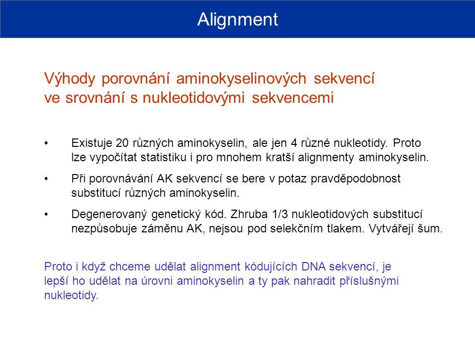 Výhody porovnání aminokyselinových sekvencí ve srovnání s nukleotidovými sekvencemi Alignment Existuje 20 různých aminokyselin, ale jen 4 různé nukleo