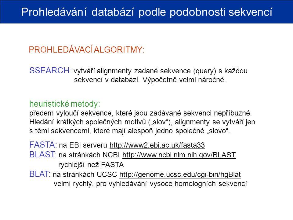 PROHLEDÁVACÍ ALGORITMY: SSEARCH: vytváří alignmenty zadané sekvence (query) s každou sekvencí v databázi. Výpočetně velmi náročné. heuristické metody: