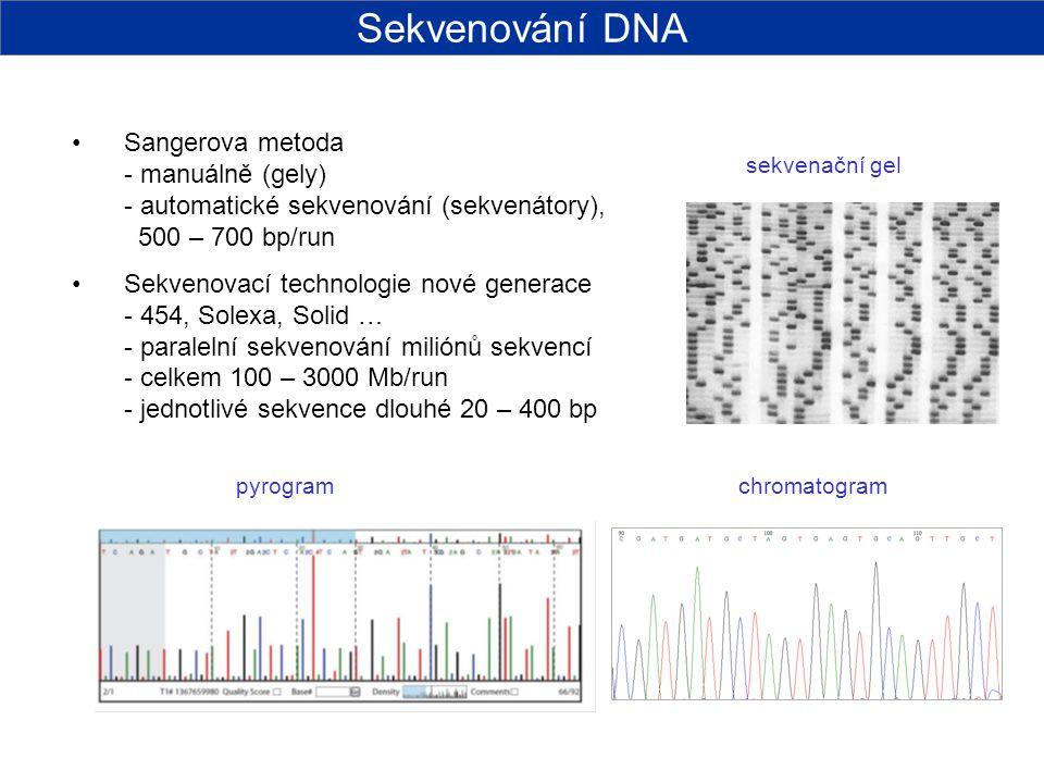 Sangerova metoda - manuálně (gely) - automatické sekvenování (sekvenátory), 500 – 700 bp/run Sekvenovací technologie nové generace - 454, Solexa, Soli