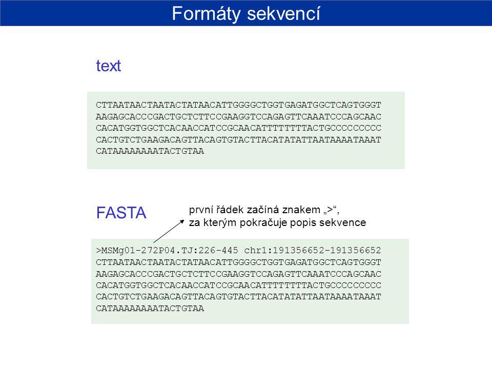 PHILIP počet sekvencí délka sekvencí Formáty sekvencí
