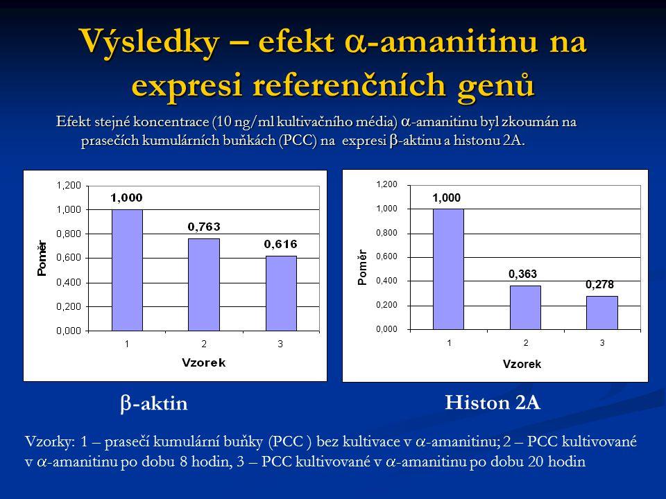 Výsledky – efekt  -amanitinu na expresi referenčních genů 1,000 0,363 0,278 0,000 0,200 0,400 0,600 0,800 1,000 1,200 123 Vzorek Poměr Efekt stejné k