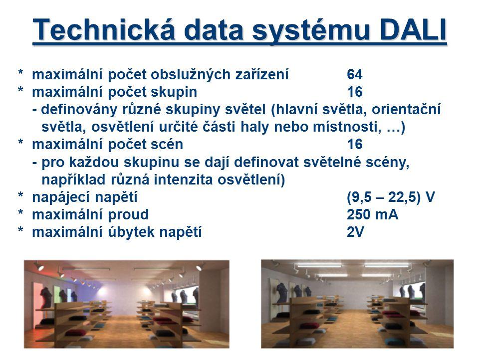 Přístroje systému DALI *zdroj pro napájení sběrnice příklad: DALI PS1 (200mA) *přepínání skupin (DALI GC) – pro ovládání dvou nezávislých skupin (zapnout, vypnout, stmívat) -nastavení skupin pomocí přepínače (vše, skupina 1, 2, …) -ovládání – nejčastěji dvou dvojtlačítek nebo tlačítek