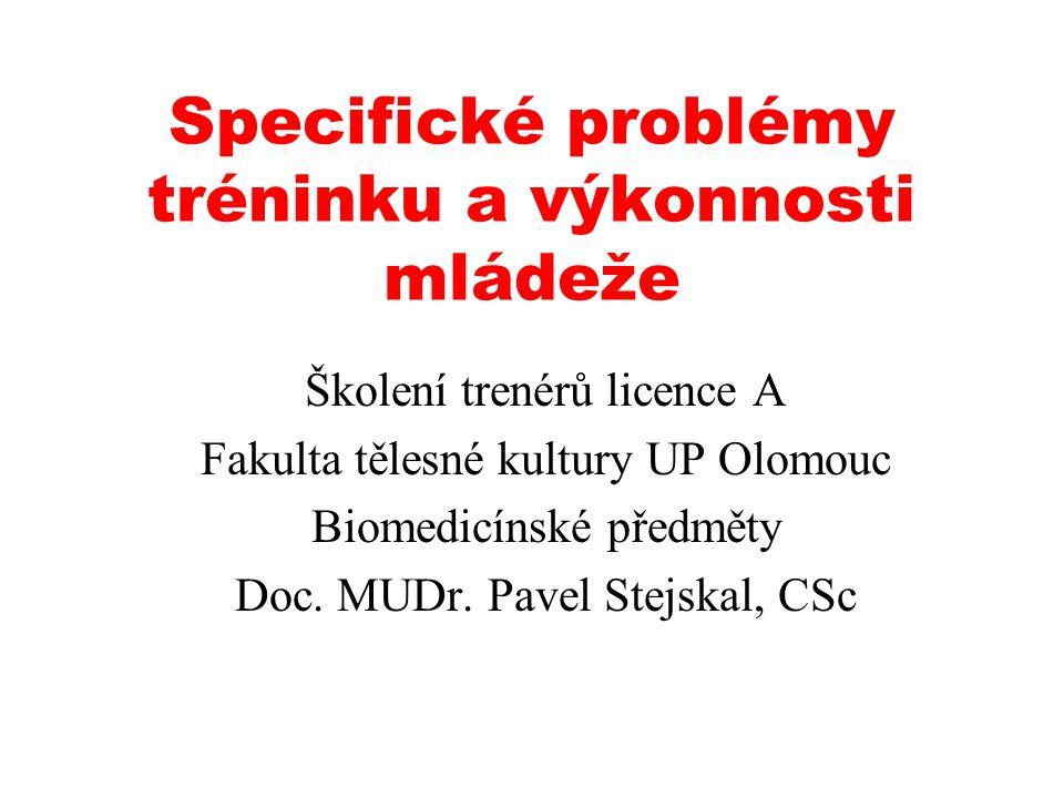 Specifické problémy tréninku a výkonnosti mládeže Školení trenérů licence A Fakulta tělesné kultury UP Olomouc Biomedicínské předměty Doc.