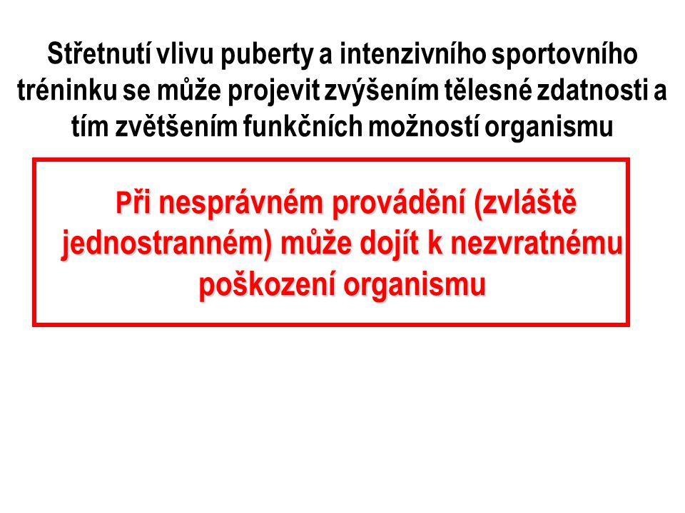 Střetnutí vlivu puberty a intenzivního sportovního tréninku se může projevit zvýšením tělesné zdatnosti a tím zvětšením funkčních možností organismu P ři P ři nesprávném provádění (zvláště jednostranném) může dojít k nezvratnému poškození organismu