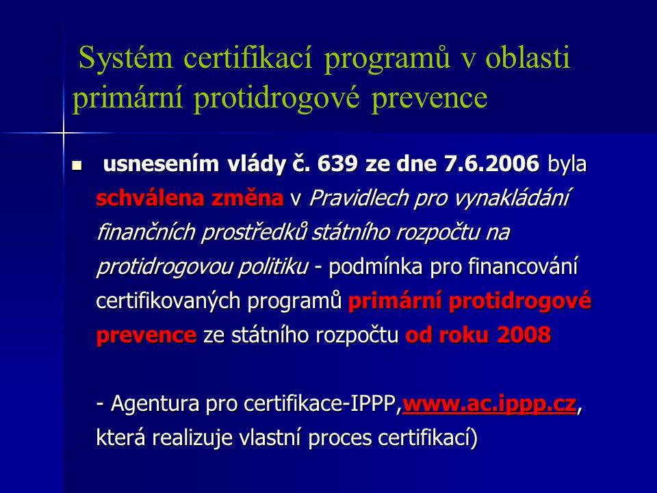 Systém certifikací programů v oblasti primární protidrogové prevence usnesením vlády č. 639 ze dne 7.6.2006 byla schválena změna v Pravidlech pro vyna