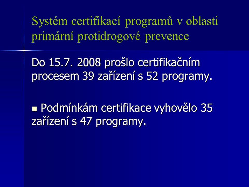 Systém certifikací programů v oblasti primární protidrogové prevence Do 15.7. 2008 prošlo certifikačním procesem 39 zařízení s 52 programy. Podmínkám