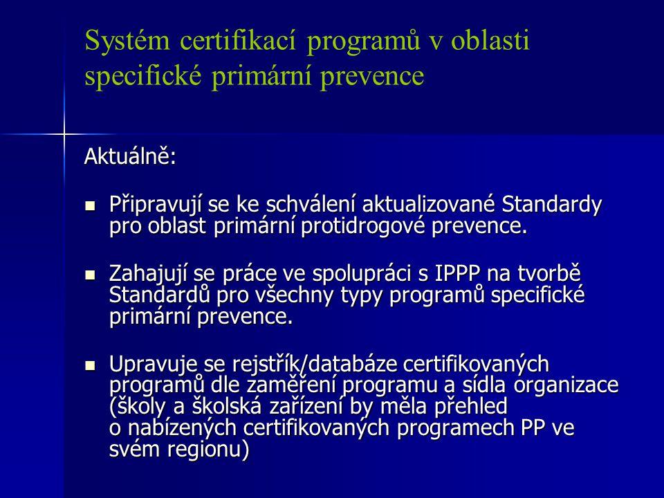 Systém certifikací programů v oblasti specifické primární prevence Aktuálně: Připravují se ke schválení aktualizované Standardy pro oblast primární pr
