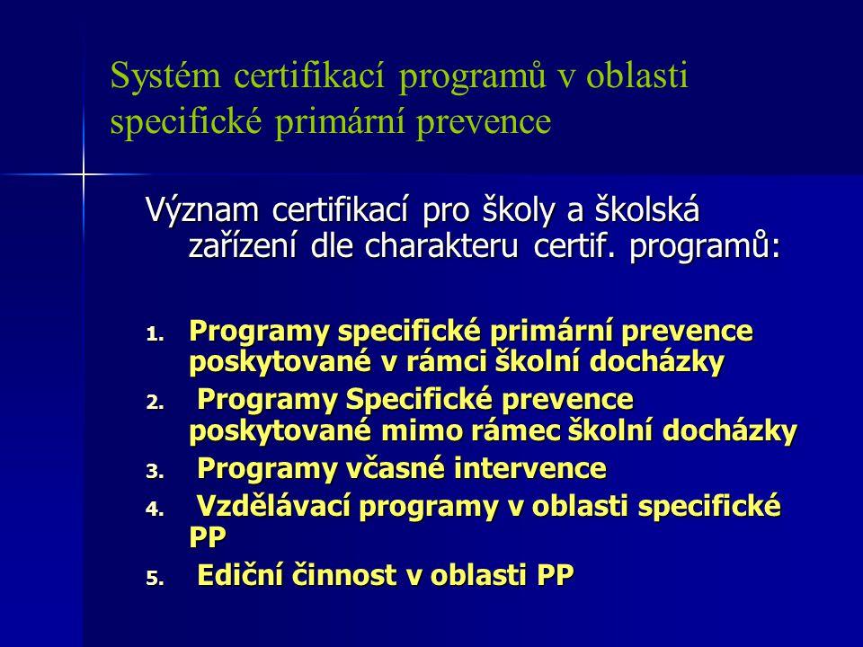 Systém certifikací programů v oblasti specifické primární prevence Význam certifikací pro školy a školská zařízení dle charakteru certif. programů: 1.