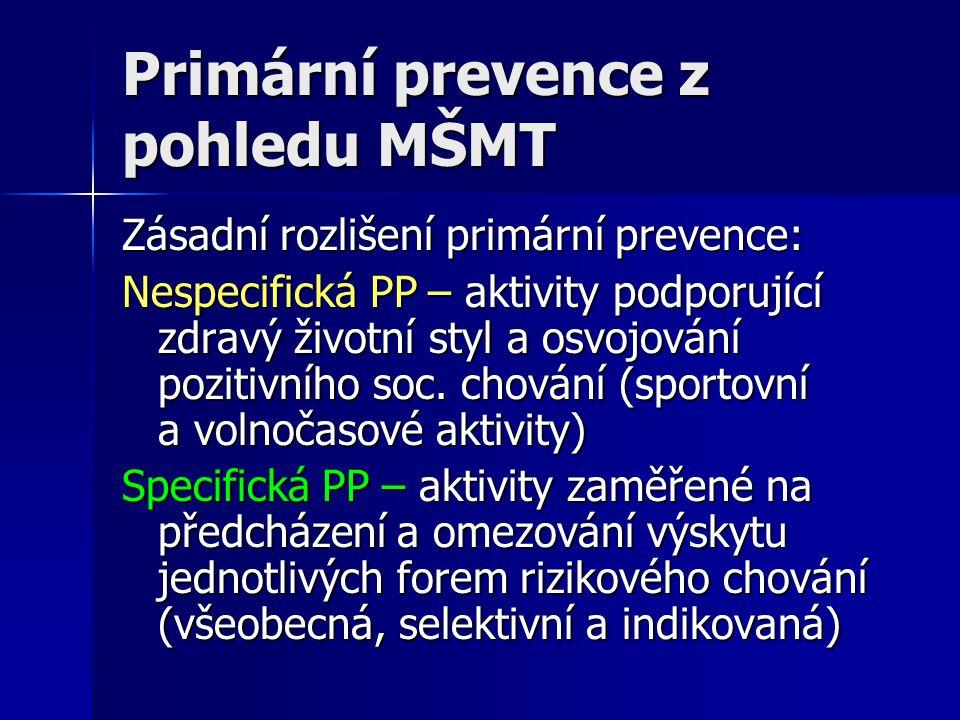Primární prevence z pohledu MŠMT Zásadní rozlišení primární prevence: Nespecifická PP – aktivity podporující zdravý životní styl a osvojování pozitivn