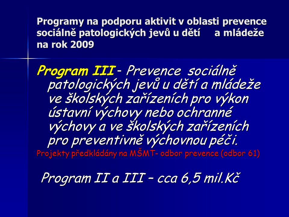 Programy na podporu aktivit v oblasti prevence sociálně patologických jevů u dětí a mládeže na rok 2009 Program III - Prevence sociálně patologických