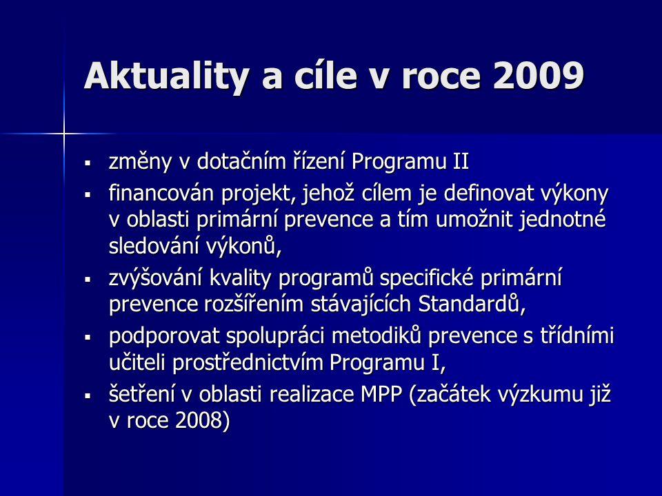 Aktuality a cíle v roce 2009  změny v dotačním řízení Programu II  financován projekt, jehož cílem je definovat výkony v oblasti primární prevence a