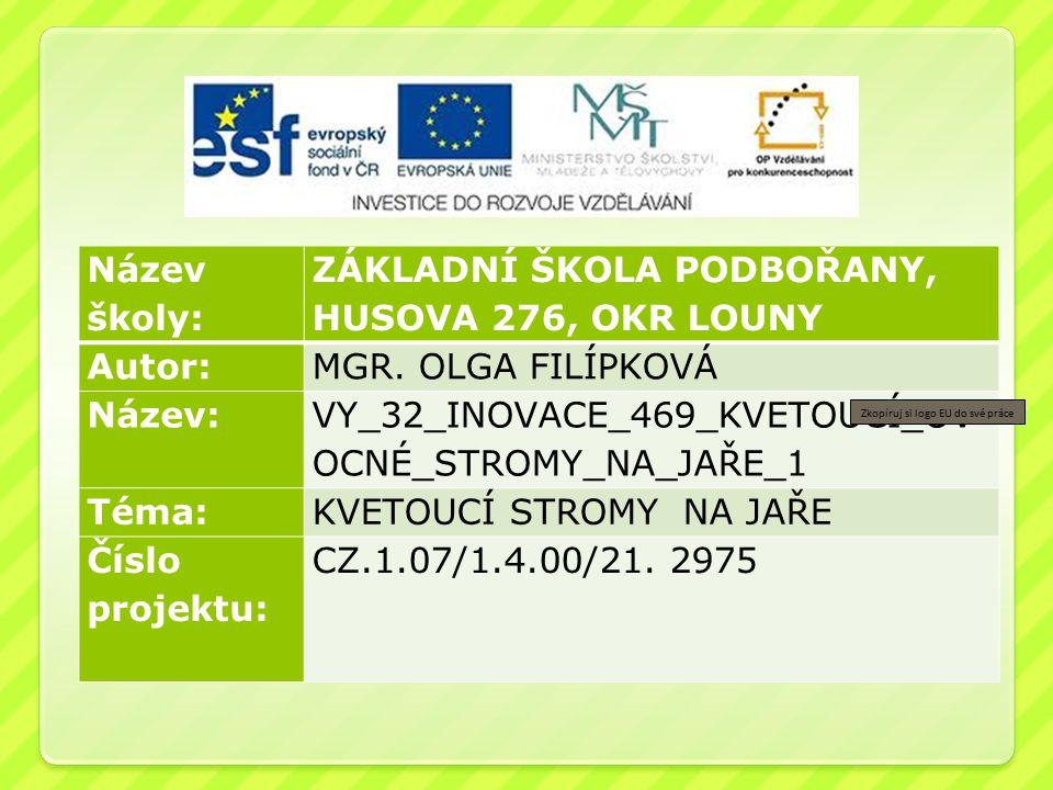 Anotace: Název školy: ZÁKLADNÍ ŠKOLA PODBOŘANY, HUSOVA 276, OKR LOUNY Autor:MGR.