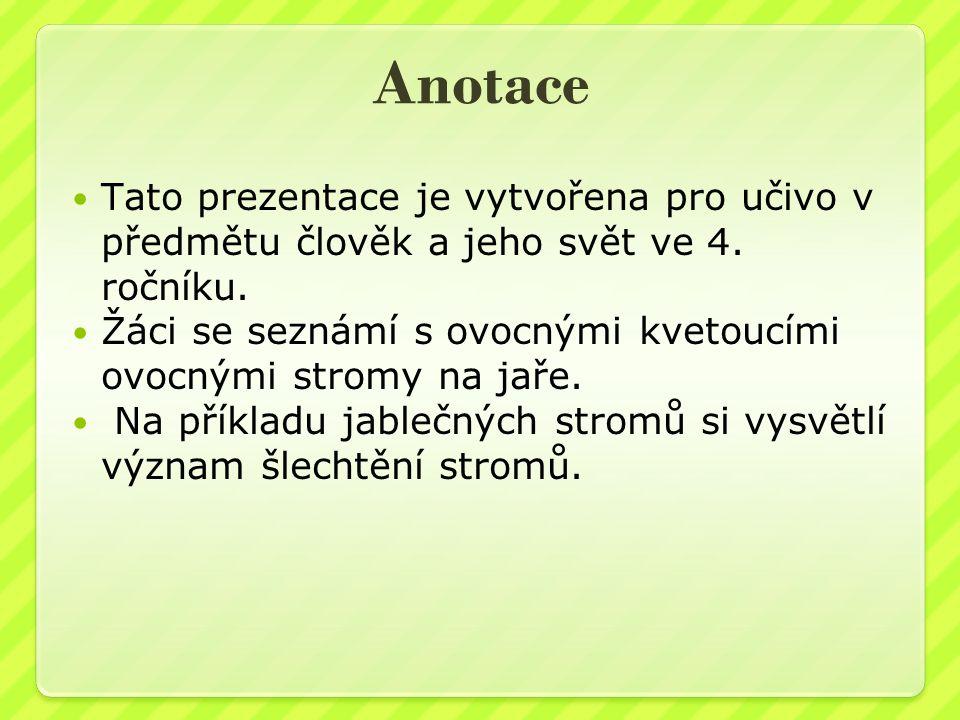 Anotace Tato prezentace je vytvořena pro učivo v předmětu člověk a jeho svět ve 4.