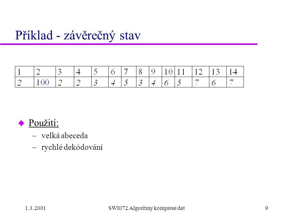 1.3.2001SWI072 Algoritmy komprese dat9 Příklad - závěrečný stav u Použití: –velká abeceda –rychlé dekódování