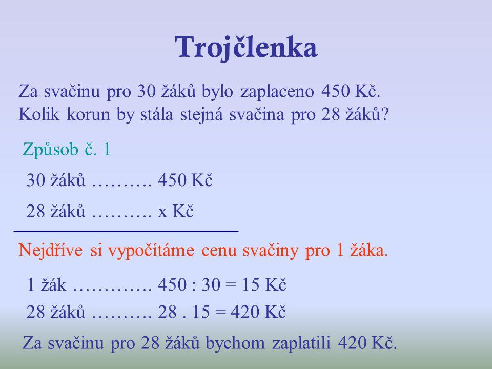 Troj č lenka Za svačinu pro 30 žáků bylo zaplaceno 450 Kč.