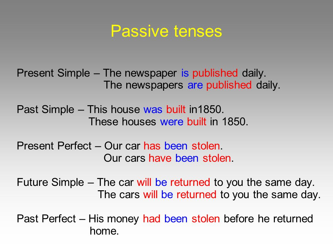 Passive tenses Present Simple – The newspaper is published daily.