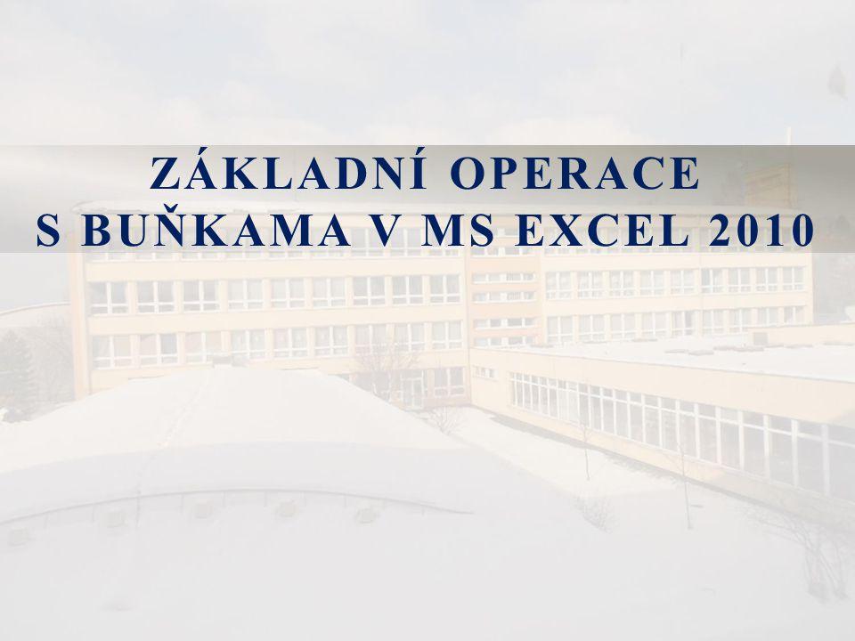 ZÁKLADNÍ OPERACE S BUŇKAMA V MS EXCEL 2010