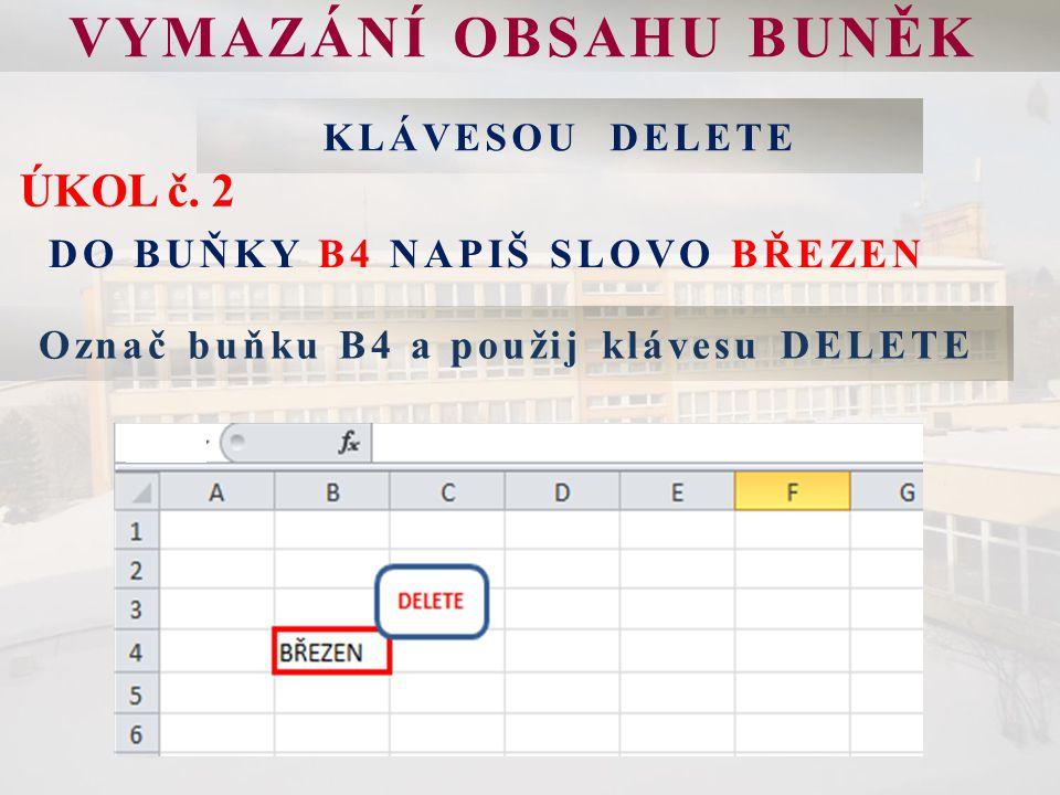 VYMAZÁNÍ OBSAHU BUNĚK Označ buňku B4 a použij klávesu DELETE ÚKOL č.