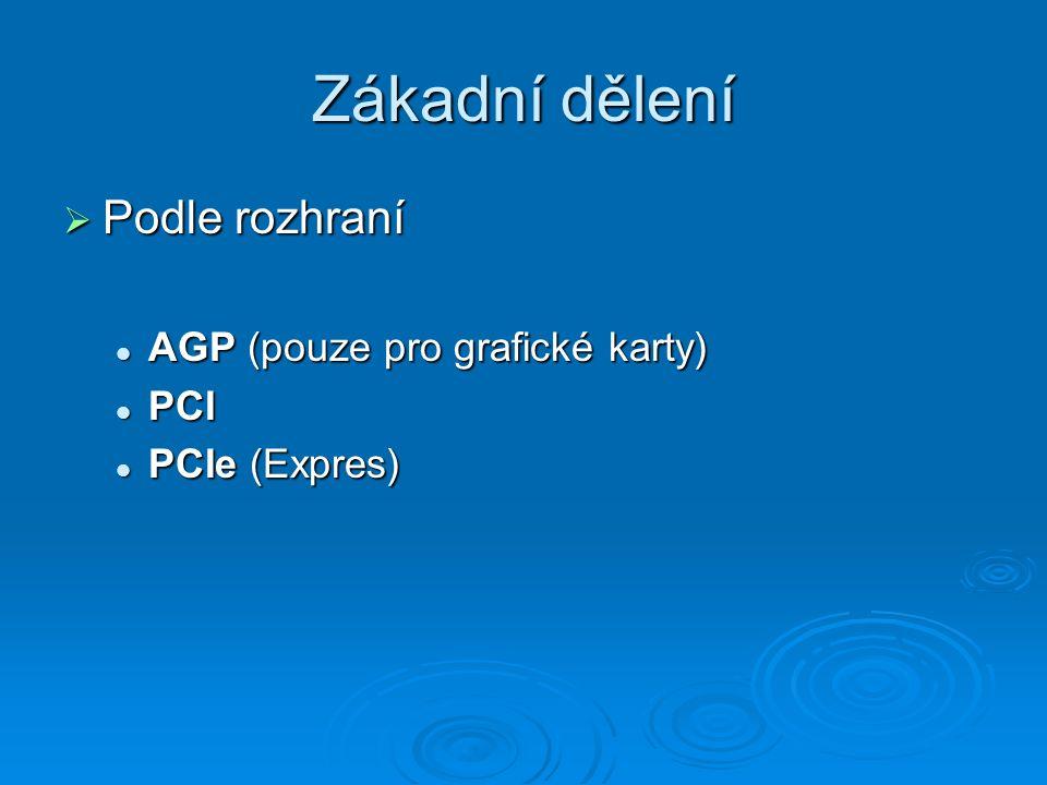 Zákadní dělení  Podle rozhraní AGP (pouze pro grafické karty) AGP (pouze pro grafické karty) PCI PCI PCIe (Expres) PCIe (Expres)