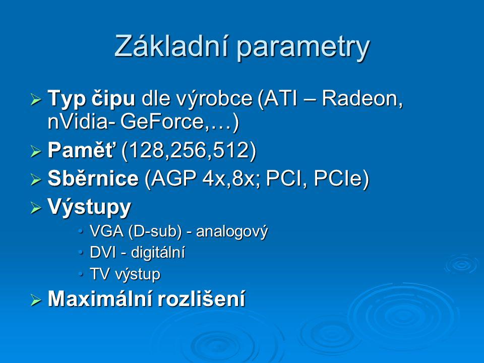 Základní parametry  Typ čipu dle výrobce (ATI – Radeon, nVidia- GeForce,…)  Paměť (128,256,512)  Sběrnice (AGP 4x,8x; PCI, PCIe)  Výstupy VGA (D-s