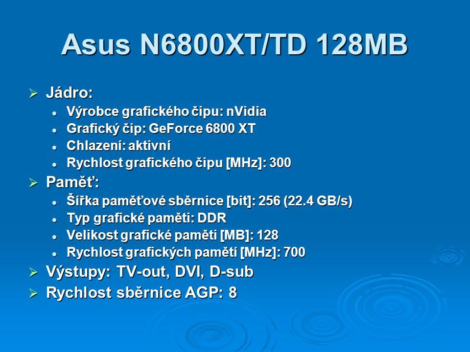 Asus N6800XT/TD 128MB  Jádro: Výrobce grafického čipu: nVidia Výrobce grafického čipu: nVidia Grafický čip: GeForce 6800 XT Grafický čip: GeForce 680