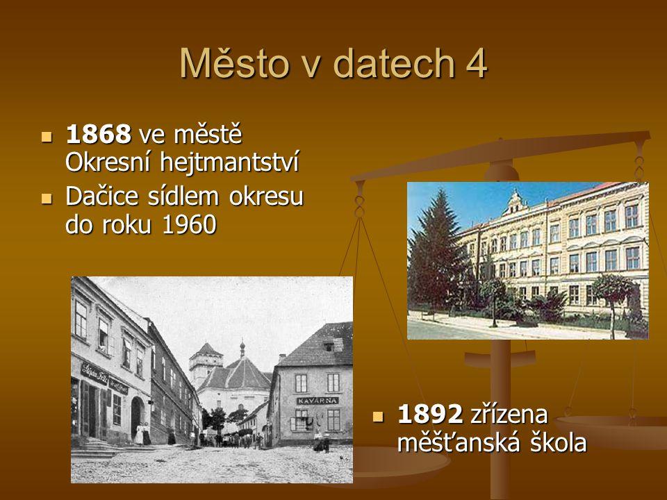 Město v datech 4 1868 ve městě Okresní hejtmantství 1868 ve městě Okresní hejtmantství Dačice sídlem okresu do roku 1960 Dačice sídlem okresu do roku 1960 1892 zřízena měšťanská škola