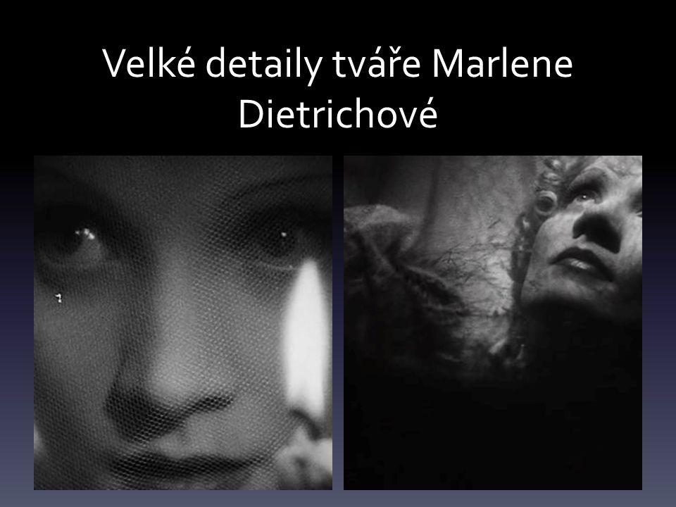 Velké detaily tváře Marlene Dietrichové