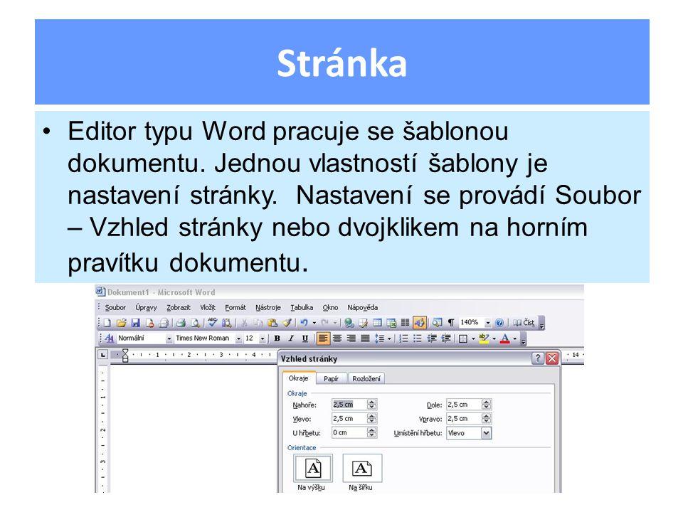Editor typu Word pracuje se šablonou dokumentu. Jednou vlastností šablony je nastavení stránky. Nastavení se provádí Soubor – Vzhled stránky nebo dvoj