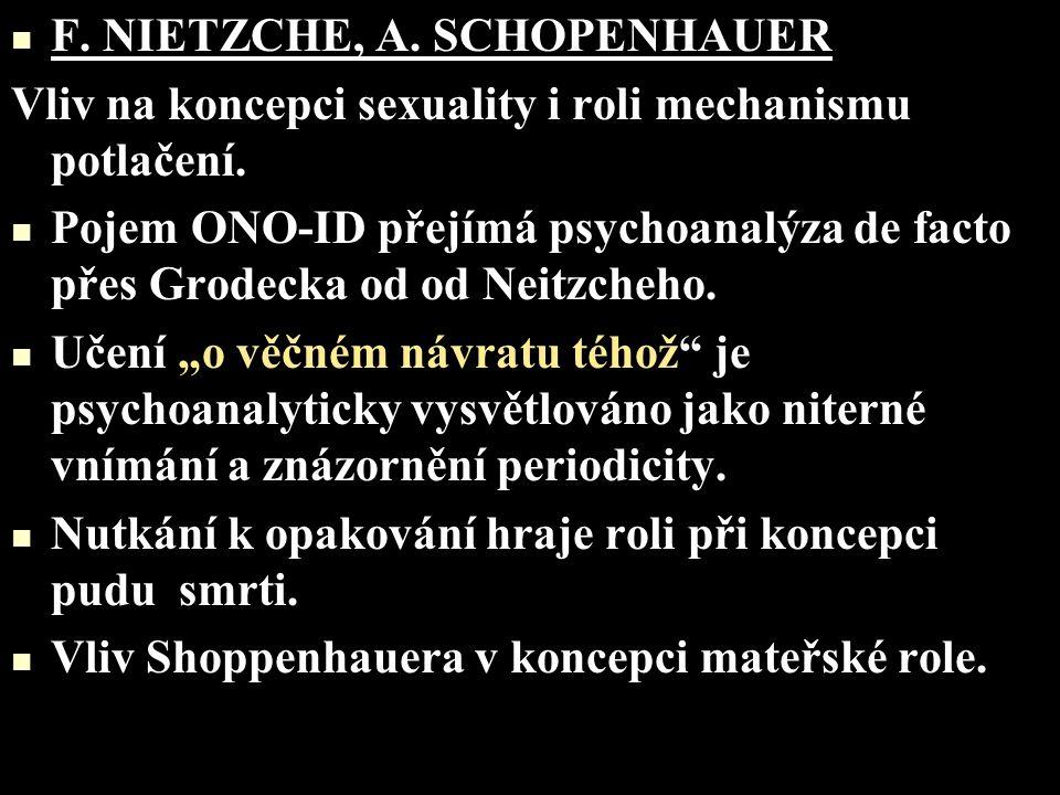 F. NIETZCHE, A. SCHOPENHAUER Vliv na koncepci sexuality i roli mechanismu potlačení. Pojem ONO-ID přejímá psychoanalýza de facto přes Grodecka od od N