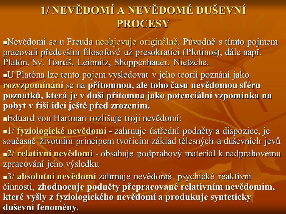 1/ NEVĚDOMÍ A NEVĚDOMÉ DUŠEVNÍ PROCESY Nevědomí se u Freuda neobjevuje originálně. Původně s tímto pojmem pracovali především filosofové už presokrati
